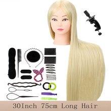 Tête de Mannequin pour tresses, coiffeur professionnel, 30, 75CM de Long, entraînement blond, pratique pour coiffer