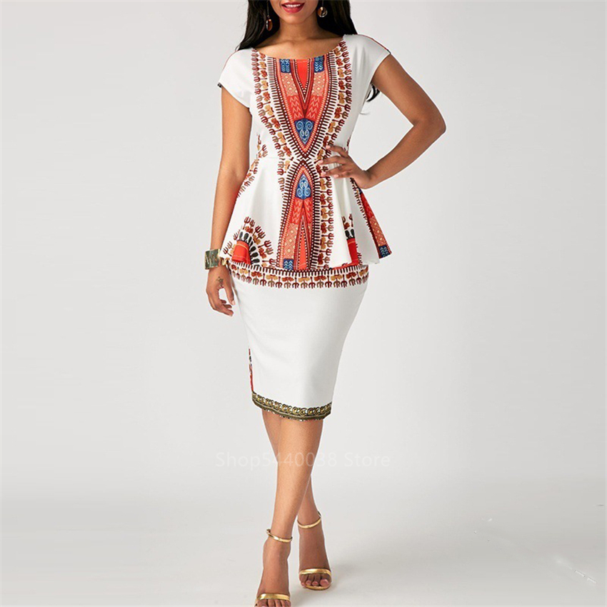 Fashion 2019 Ladies Africa Style Top Skirts Suit Dashiki Print African Dresses For Women Ankara Vestidos Robe Africaine Ladies