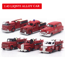 1:43 alloy Simulation mini European fire truck,Childs gift toy,Original packaging, Gift retro truck,free shipping