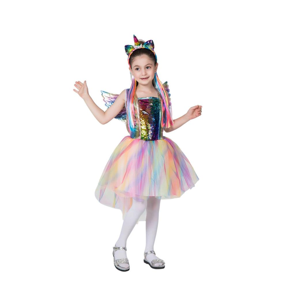 Child Magical Rainbow Unicorn Fancy Tutu Dress Costume Girls Ballerina Fairytale