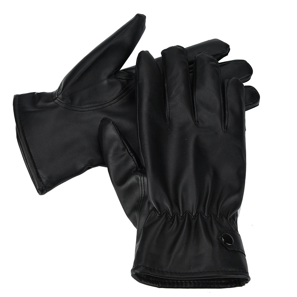 Men Winter Gloves Full Finger Warm Cashmere Leather Male Winter Gloves Motorcycle Cycling Riding Waterproof Tactical Gloves 2019