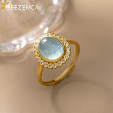 Trendy Vintage 925 Sterling Silver Gold Plated Blue Aquamarine Rings Fine Jewelry Natural Gemstone Open Ring Party Gift Women