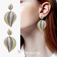 Newness Luxruy Fashion Leaf Leaves Cubic Zirconia Wedding Women Dress Earring Jewelry