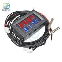 Dc 4V-28V 4 Digit Led Mini Dual Display Digitale Thermometer Temperatuur Sensor Tester W/Ntc waterdicht Metalen Sonde