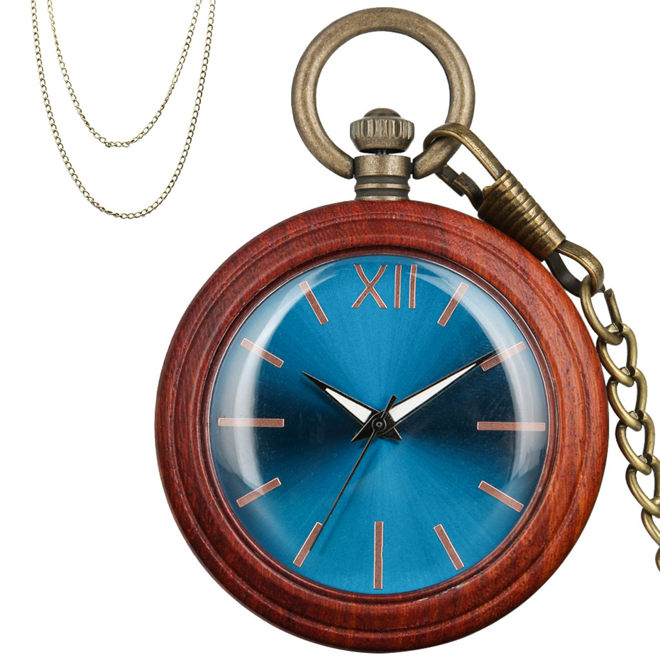 Luxury Red Wooden Quartz Pocket Watch Bronze Hook Pocket Chain+Necklace Chain Full Wood Pendant Clock Blue Round Dial
