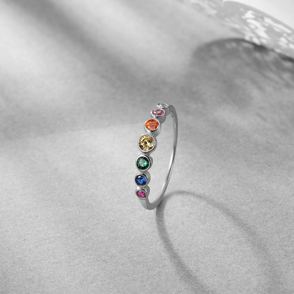 E Jewelry 925 Sterling Silver Rainbow Gemstones Ring for Women Colorful Wedding Engagement Rings for Girls 3