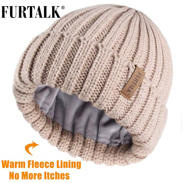 FURTALK Winter Hat for Women Beanie Hat with Fleece Lining Men Lady Knitted Winter Cap for Female Girl Red Black White Pink Grey 1