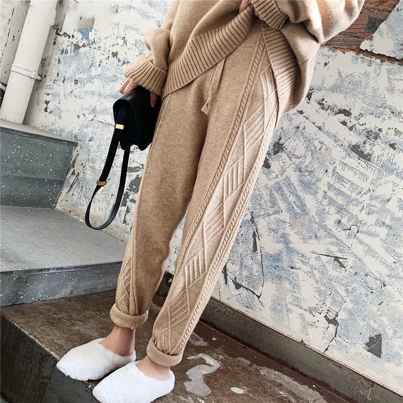 Winter Thicken Women Harem Pants Casual Drawstring Twisted Knitted Pants Femme Chic Warm Female Sweater Trousers 2019