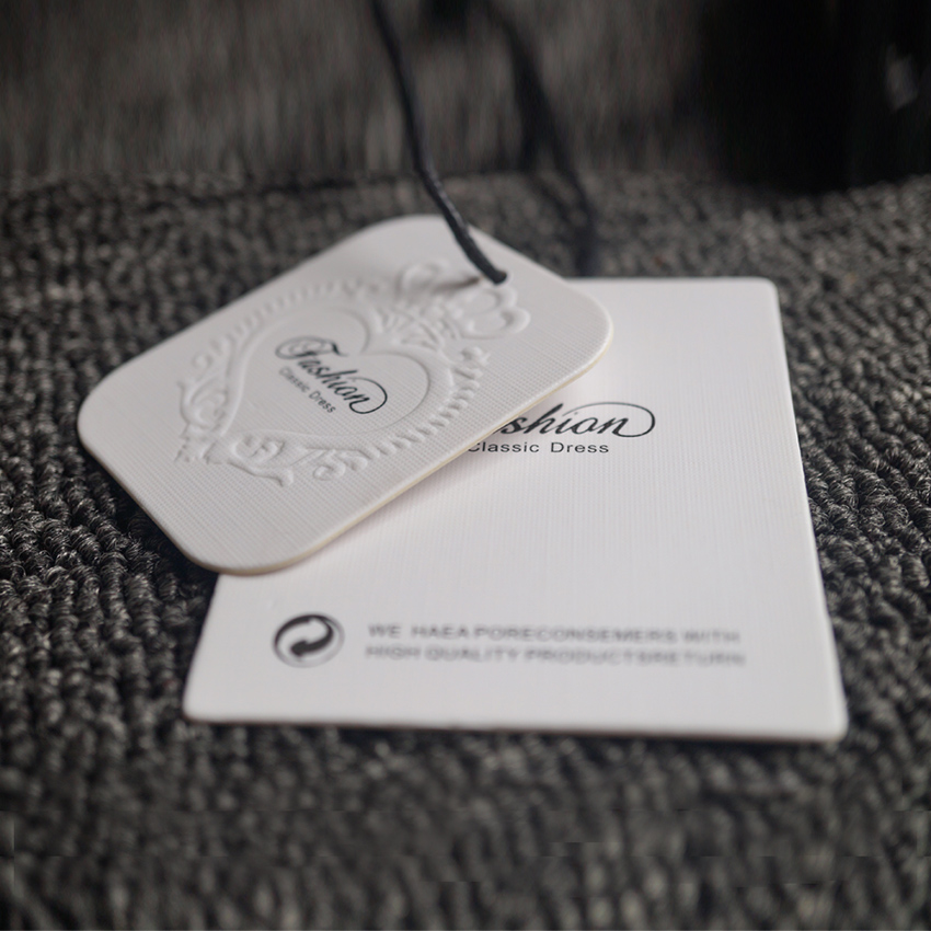Factory Direct Cheap Embossed Linen Finished Paperboard Hang Tags