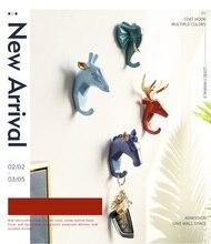 Newly Produced Deer Rhino Elephant Giraffe Horse Animal Decorative Hook Creative Resin Model Bathroom Wall Coat