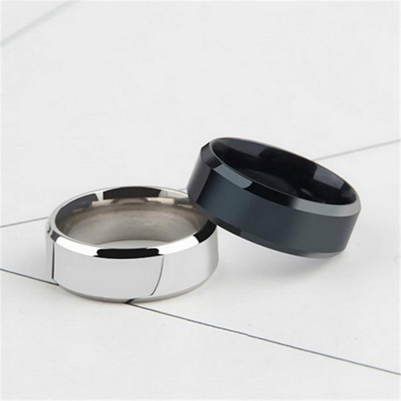 Кольцо из титановой нержавеющей стали для мужчин и женщин, ювелирное изделие с двойным Скосом черного и серебряного цвета, свадебные аксесс...