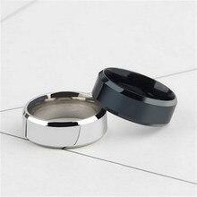 Anel de titânio aço inoxidável, preto, cor prata, masculino, bijuteria dupla