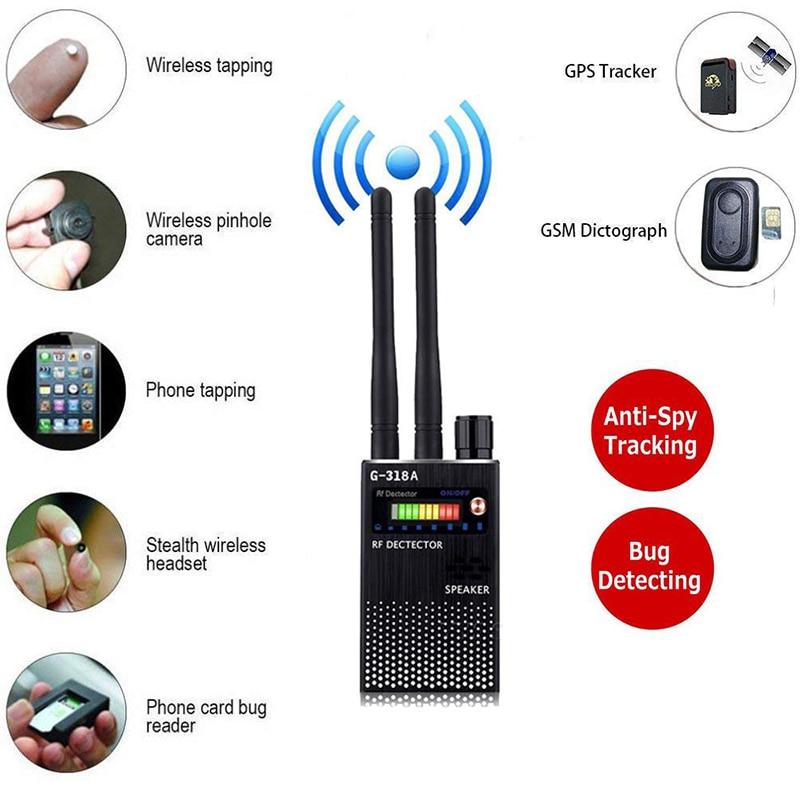 Dual Antenna RF Signal Anti Spy Hidden Camera Detector Espia Pinhole Button Kamera Detector Audio Bug GPS GSM Device Tracker