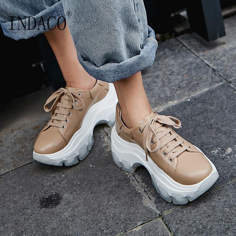 Baskets femmes mode noir plateforme cuir chaussures décontractées 7.5cm