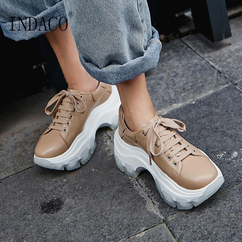 Sneakers Women Fashion Black Platform Leather Casual Shoes 7.5cm