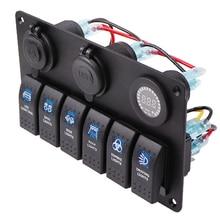 USB Charging 6 Gang Rocker Control Switch Panel 12 V 24V Waterproof Car Marine boat Circuit Breaker Volt