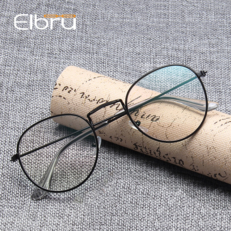 Elbru Vintage Oval Eye Glasses Frame For Women Men Retro Metal Frame Optical Spectacles Frames Transparent Lens Eyewear Gold
