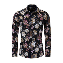 2019 New Shirt Fashion Floral Mens 100% Cotton Casual Business Long-sleeved Printed