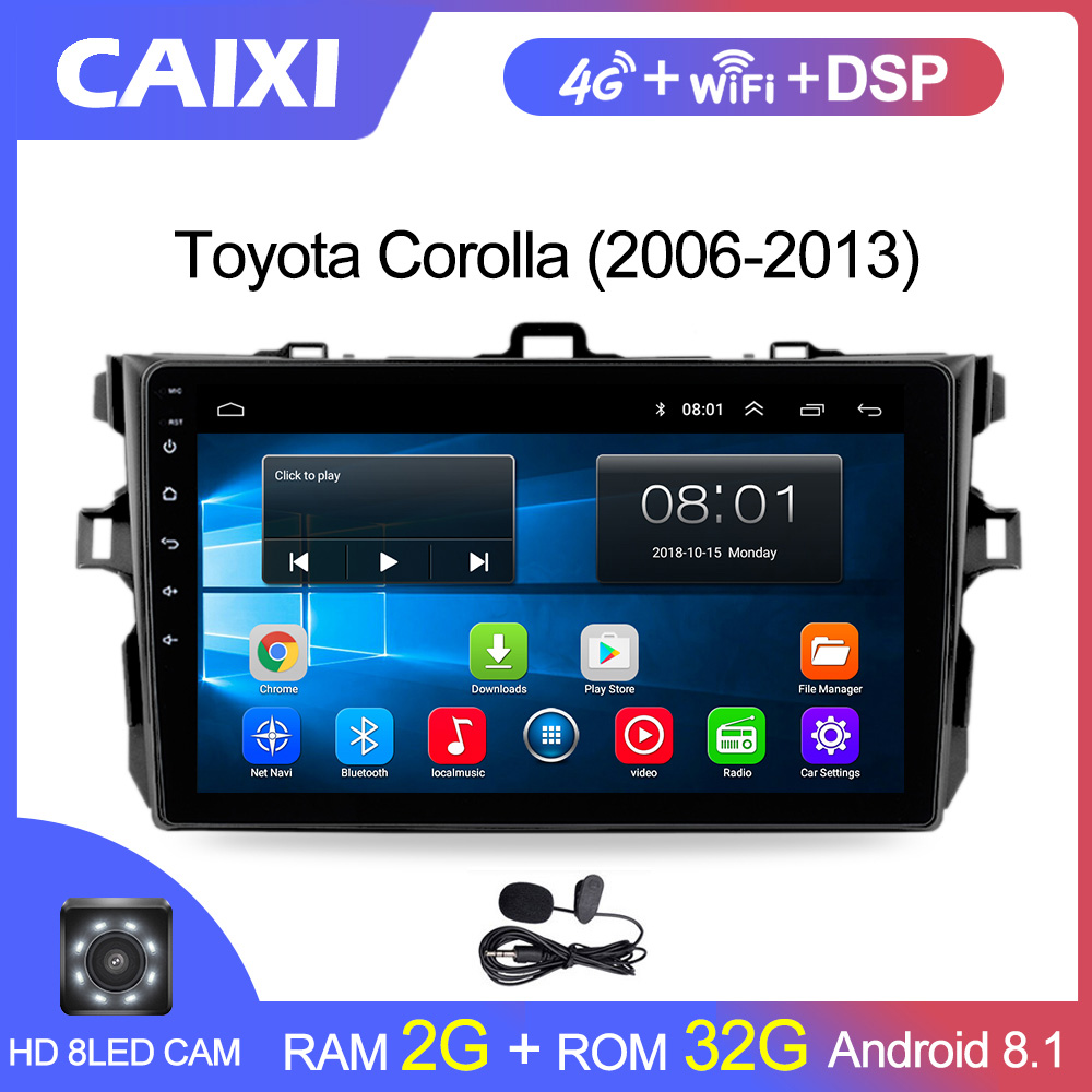 9 Inches 2din Android8.1 Car Radio Multimedia Player For <font><b>Toyota</b></font> <font><b>Corolla</b></font> E140/150 2008 2009 2010 2011 2012 2013 Stereo navigation image