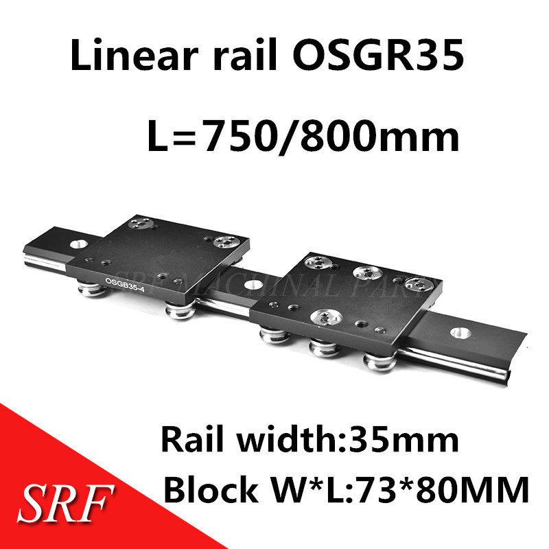 35mm width axis core linear Motion slide rail 1pcs OSGR35 L=750/800mm+1pcs OSGB35 linear slide block