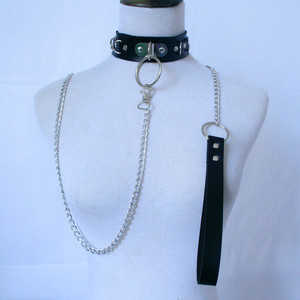 BDSM Leather Collar Kinky Dog Chain with Leash Chain Adjustable Roleplay Fetish Choker