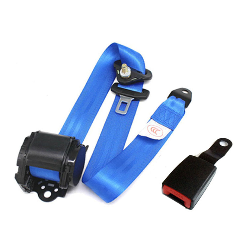 Blue 3 Point Retractable Car Safety Seat Belts Lap Safety Belt Seatbelts For Auto Cars With Curved Rigid Buckle