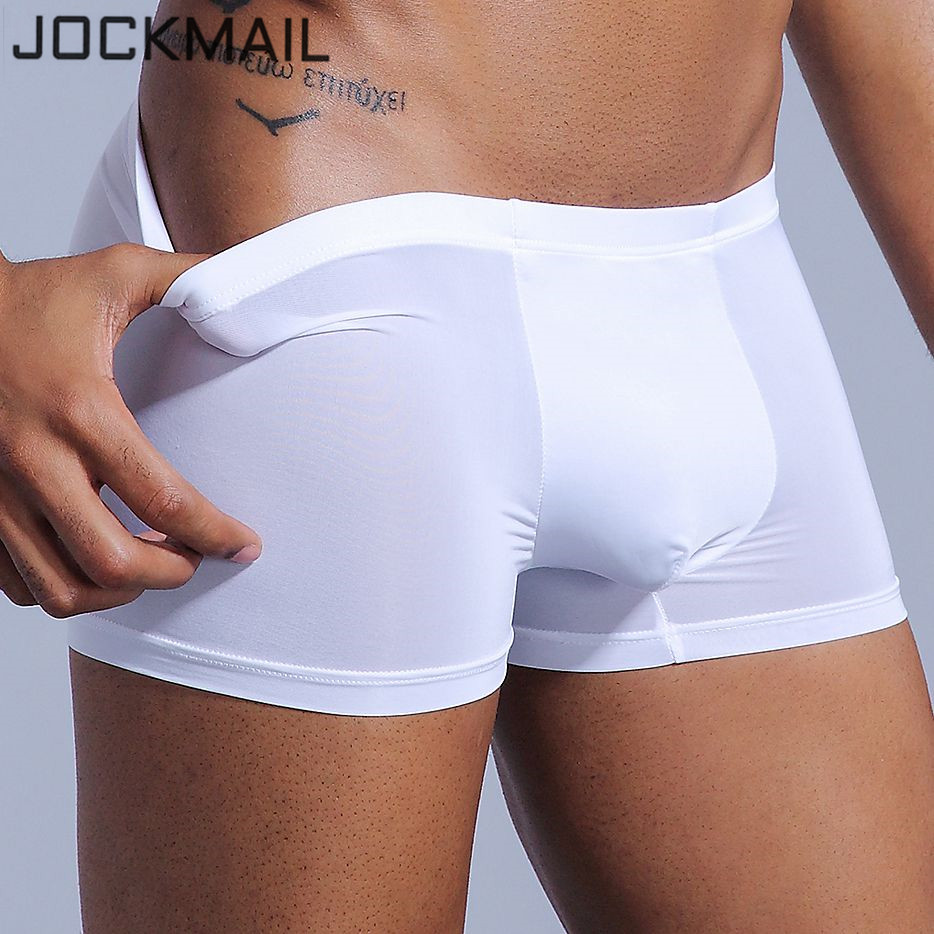 Sexy Men Underwear Boxer Shorts Ice Silk U Convex Soft Sexy Kilot Male Men's Underpants Cueca Boxer Homme Slips Gay Underwear