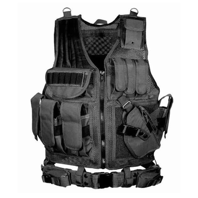 Black And White With Pattern Tactical Vest Multi-functional Tactical Vest Punched Sheet Velcro Vest Security Check Patrol CS Ind