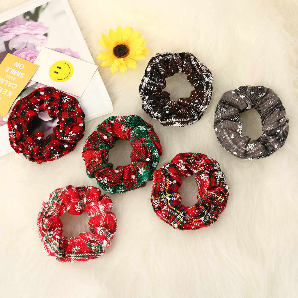 24 pcs hair bands Christmas Party Elastic Hair Bands green and red plaid design headband For Women Girls Hair Accessories#924g20
