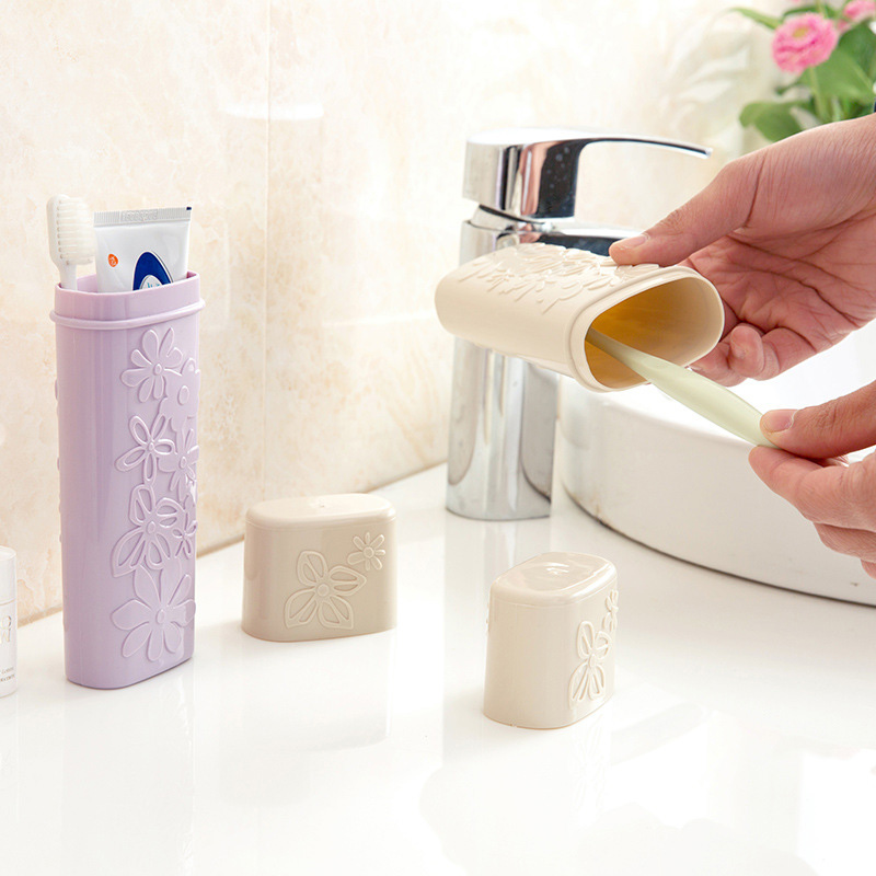 Portable Creative Flower Carved Toothbrush Cover Outdoor Travel Portable Toothbrush Toothpaste Holders Case Storage Box image