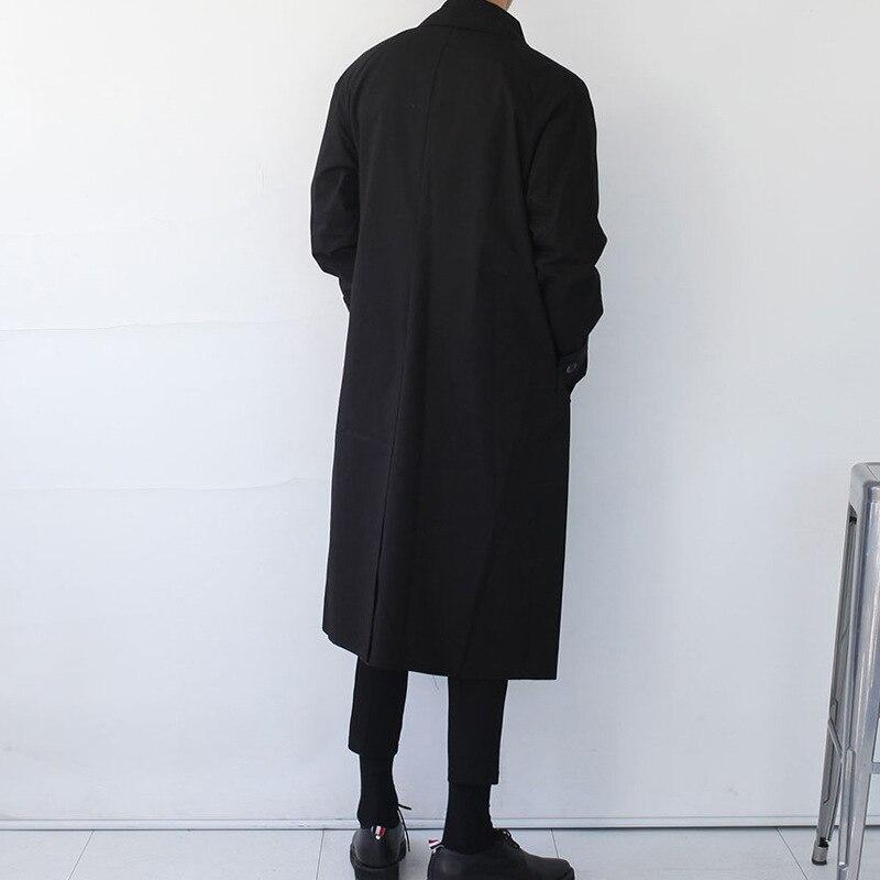 Модная дизайнерская Длинная ветровка на осень и зиму, однобортное ветрозащитное пальто размера плюс, мужской Тренч в японском стиле - 5