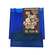 249 IN 1 Game Cartridge Classic Games For 72 Pin NTSC and PAL Game Console Transparent blue