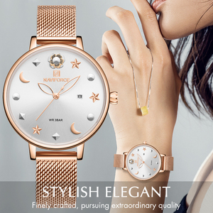 Image 2 - NAVIFORCE Women Watches Womens Fashion Clock Vintage Design Ladies Watch Luxury Brand Gold Metal Waterproof Relogio Feminino