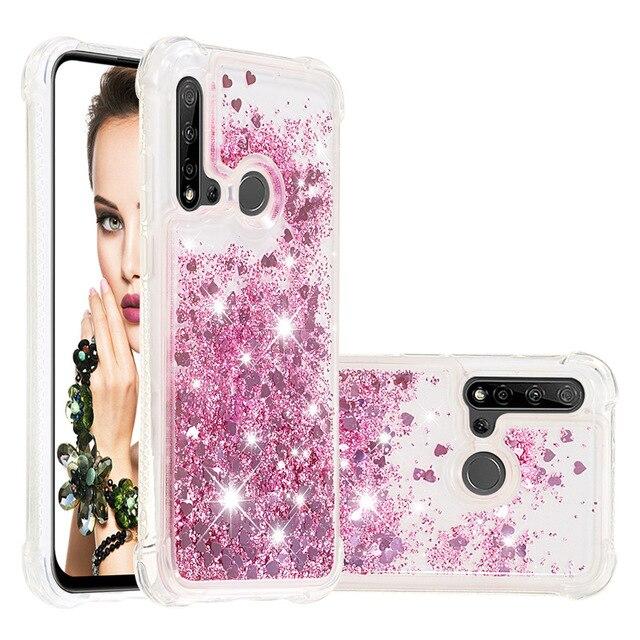 Sıvı Quicksand Telefon Kılıfları Huawei P20 Lite Mate 30 Lite Nova 5i Nova 5i Pro Glitter Aşk Kalp yıldız TPU tampon Coque