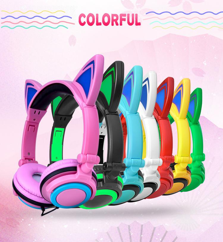 Bluetooth Stereo Headset Cat Ear Headphones Flashing Glowing Cat Ear Headphones Gaming Headset Earphone LED Light For Girls
