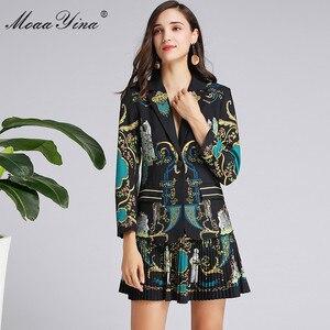 Image 4 - MoaaYina แฟชั่นฤดูใบไม้ผลิผู้หญิงฤดูใบไม้ร่วงแขนยาวชุดเสื้อ + กระโปรงจีบ VINTAGE พิมพ์สีดำ Elegant 2 ชิ้นชุด