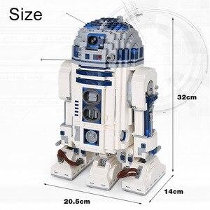 Image 5 - Lepining 05043 Star Movie Wars espacio fuera de impresión el Robot de R2 D2 bloques juguetes compatibles lepinblocks 10225