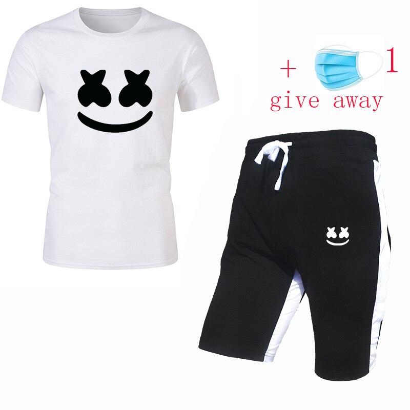 2020 New Fashion Sports T-shirt Men's Summer Short-sleeved Sports Suit T-shirt + Shorts Men's Casual Clothes