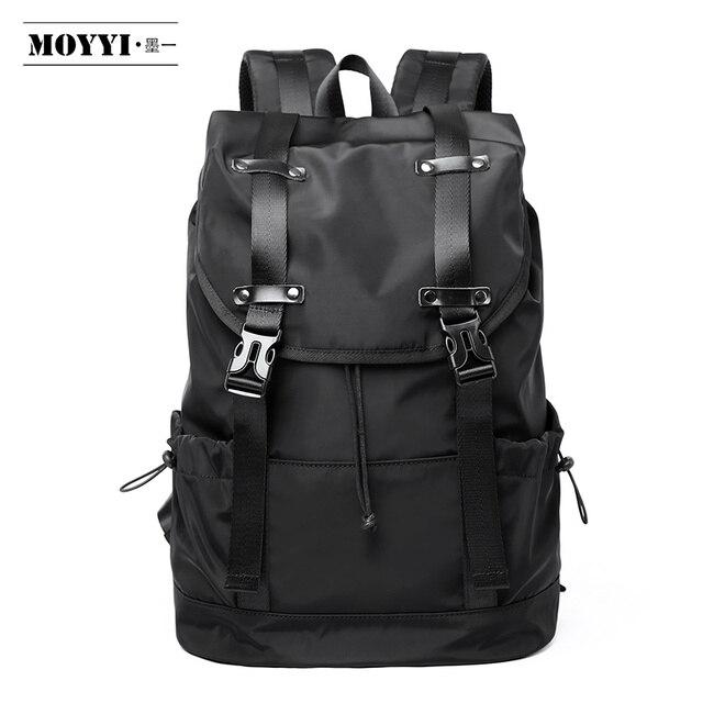MOYYI موضة جديدة للرجال حقيبة ظهر مدرسية حقائب السفر للرجال سعة كبيرة السفر مقاوم للماء 14 15.6 بوصة محمول على ظهره