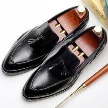 2019 Handmade Tassel Men's Loafer Shoes Custom 100% Genuine Leather Fashion Casual Luxury Wedding Party Original Oxford Shoes 100% genuine original