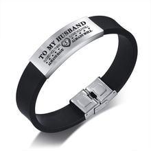 Мужской черный силиконовый браслет с биркой из нержавеющей стали