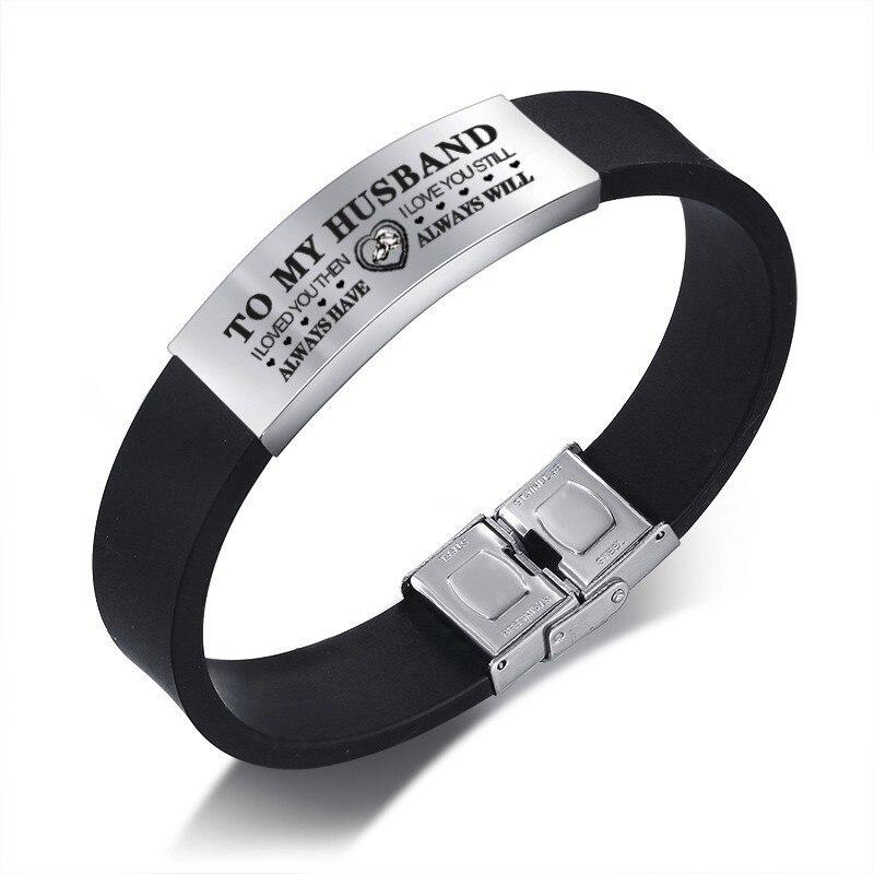 Vnox personnalisé à mari Bracelets pour hommes bracelet en Silicone noir avec étiquette en acier inoxydable cadeau de saint valentin pour lui