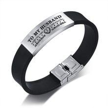 Vnox – Bracelets personnalisés pour mari, bracelet en Silicone noir avec étiquette en acier inoxydable, cadeau de saint-valentin pour lui