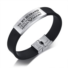 Vnox Custom TO HUSBAND Bracelets for Men Black Silicone Wrist Band with Stainless Steel