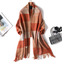 2019 Special Offer Hijab Winter Double Sided Plaid Long Cashmere Women Warm Kerchief Shawl Foulard Femme Neck For Ladies