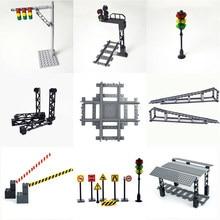 Vías de tren de ciudad, mini señales de señal, modelo trein, Riel de pista, carriles de tráfico, bloque de construcción, estación de tren de ciudad
