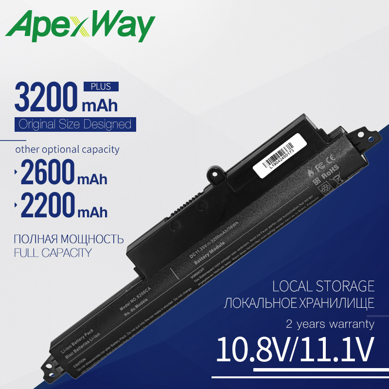 Apexway Laptop Battery A31LMH2 A31N1302 Battery For ASUS For VivoBook <font><b>X200CA</b></font> X200MA X200M X200LA F200CA 200CA 11.6