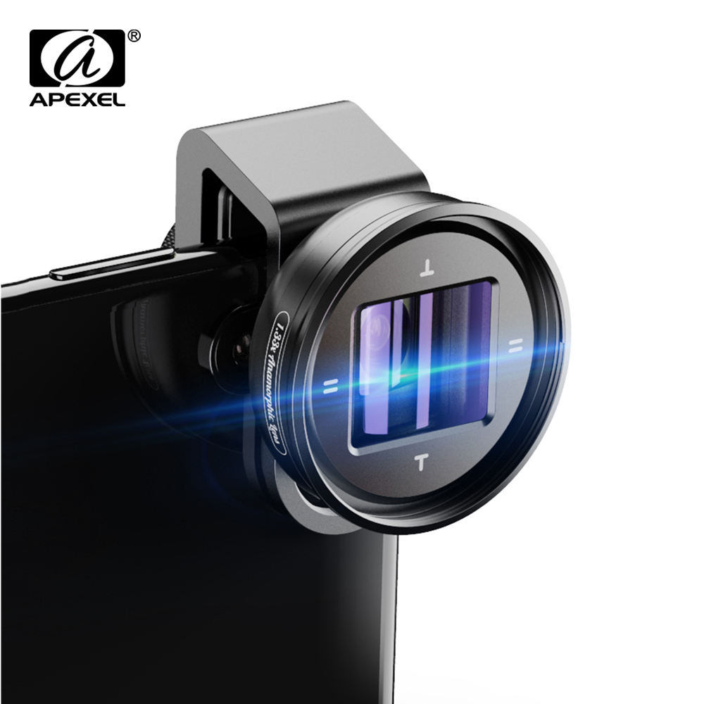 APEXEL 1.33x Anamorphic Lens 4K HD Widescreen Movie Lens  Vlog Shooting Deformation Mobile Lens For IPhone Samsung Smartphones