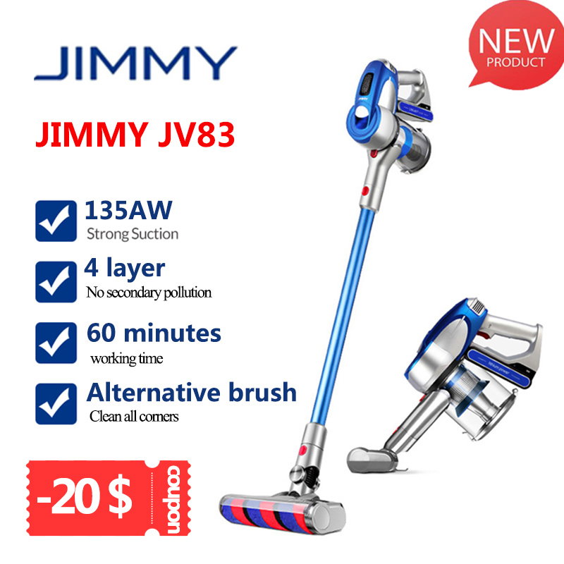 2019 JIMMY JV83 20KPa Do Motor 135W Forte Poder Aspirador de pó Sem Fio Digital Grande de Sucção Aspirador de Pó Coletor de pó Para Home