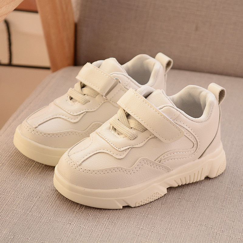 Children White Shoes For Girls Leather Waterproof School Shoes Boys Sneakers Casual Running Shoes Fashion Kids Flat Sports Shoes